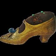 Vintage 1920s Pin Cushion Jennings Brothers Brass Shoe Building Washington DC Sewing Souvenir