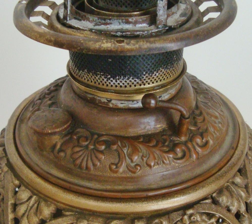 Antique Piano Banquet Lamp Oil Kerosene Bradley Hubbard BH B H ...
