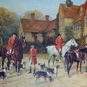 Antique Hunting Color Print Framed & Matted Hunt Hunters