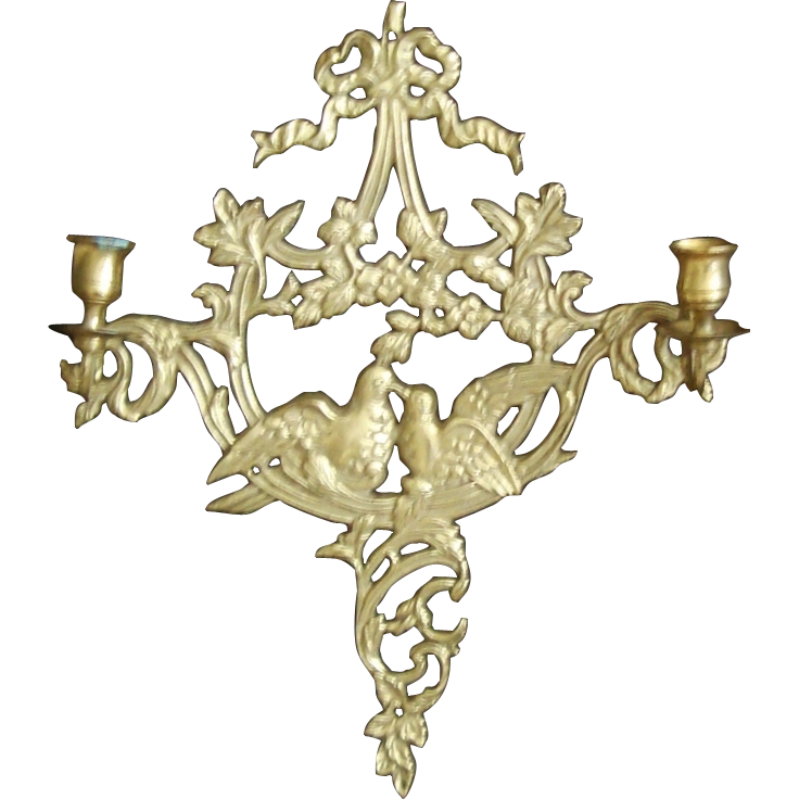 Candle Wall Sconces Vintage : Sconce Wall Lamp Brass Love Birds Candle Vintage SOLD on Ruby Lane