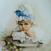 1882 French Limoges Victorian Portrait Charger Plate Hand-Painted Signed & Dated France Plaque Painting Child Super Rare