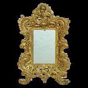 LARGE Antique Brass Cherub Mirror / Picture Frame Rococo Style Putti Angel