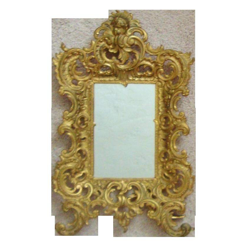Large Antique Brass Cherub Mirror Picture Frame Rococo