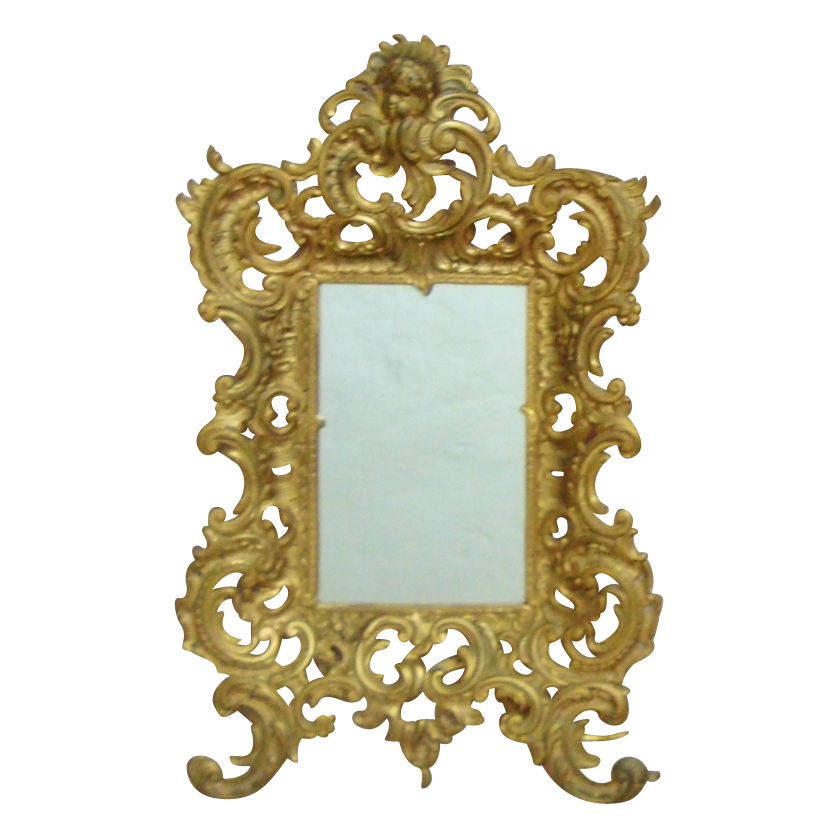 Large antique brass cherub mirror picture frame rococo for Large portrait mirror