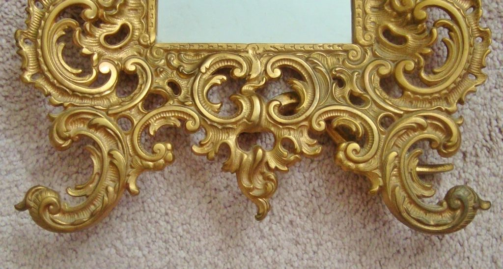 Large antique brass cherub mirror picture frame rococo for Rococo style frame
