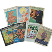 7 Woman's World & The Household Magazine Framable Covers 1929-1946 Art Deco Christmas Holidays & Advertisements WWII Vintage