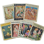 7 Woman's World & The Household Magazine Framable Covers 1930s Art Deco Weddings & Southwest & Advertisements WWII Vintage