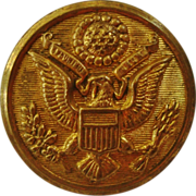 8 Antique Brass Buttons Eagle & American Flag Scovill Mfg. Co. Waterbury Connecticut Sewing