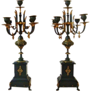 Pair French Brass & Marble Candelabras Louis XV Style Ebonized Candle Holders Regency