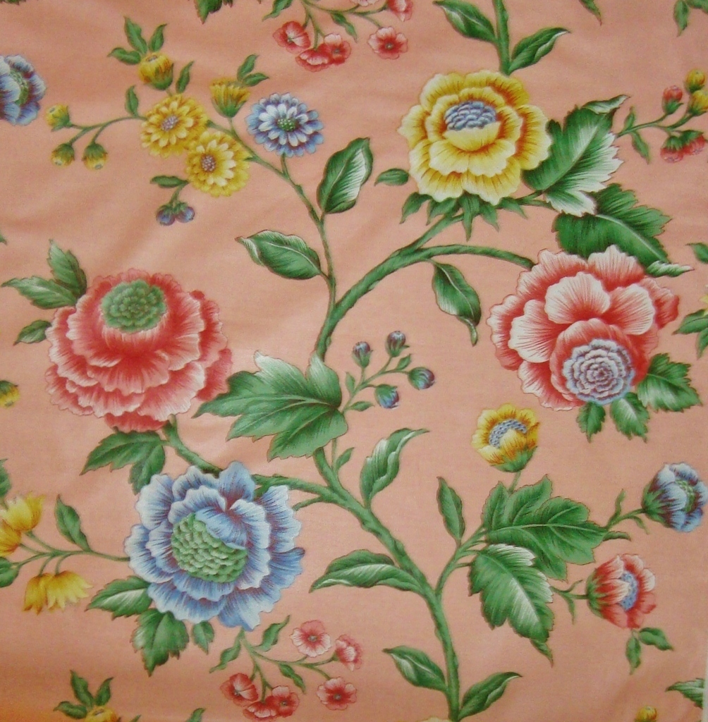 1 of 17 yards chintz fabric salmon pink for sewing w for Chintz fabric