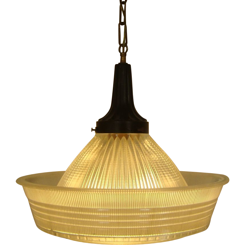 Art Deco Holophane Chandelier Light Fixture Industrial