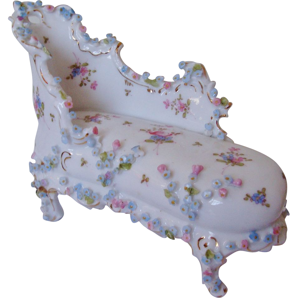 Miniature Doll House Furniture Chaise Lounge Chair W/ Roses Antique :  Coyote Moon Antiques | Ruby Lane