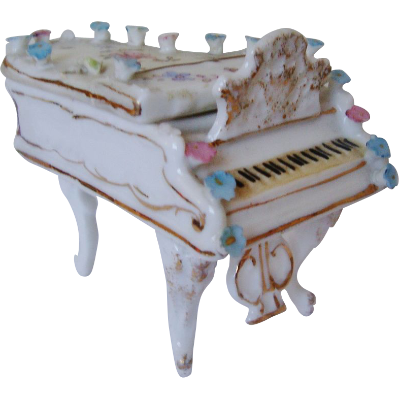Miniature Doll House Furniture Grand Piano w/ Roses Antique German Porcelain Victorian Flowers Floral Dollhouse Germany