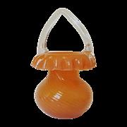 Antique Glass Basket Hand-Blown Pumpkin Orange Swirl