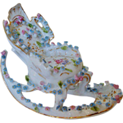 Miniature Doll House Furniture Rocking Chair w/ Roses Antique German Porcelain Victorian Flowers Floral Dollhouse Germany