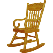 Miniature Rocking Chair Dollhouse Wood Furniture Rocker Doll House Vintage