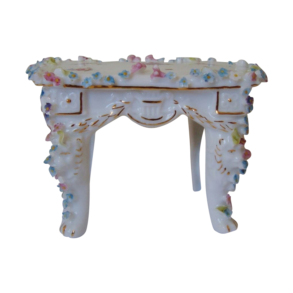 Miniature Doll House Furniture Table or Desk w/ Roses Antique German :  Coyote Moon Antiques | Ruby Lane - Miniature Doll House Furniture Table Or Desk W/ Roses Antique German