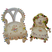 2 Antique Miniature Doll House Chairs Furniture German Porcelain Victorian  w/ Roses Flowers Floral Dollhouse Germany