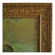 Antique Picture Frame Wood & Gesso 19c Victorian Art Nouveau Styling for Photo Photograph or Painting w/ St. Bernard Dog & Little Girl Print