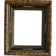 Antique Wood Picture Frame 19c Victorian Eastlake Aesthetic Ebonized Marbelized Incised  c. 1865-1885 for Photo Print or Painting
