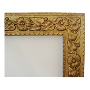 Antique Picture Frame Wood & Gesso 19c Victorian Art Nouveau Aesthetic Eastlake Flowers & Ivy for Painting Print Photograph