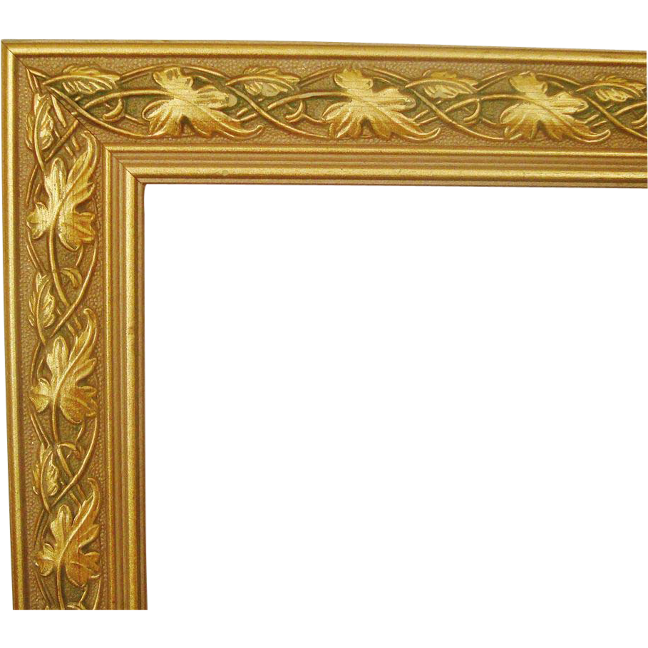 1 of 2 wood picture frames gold green for paintings prints photographs leaves vintage - Wooden Picture Frames