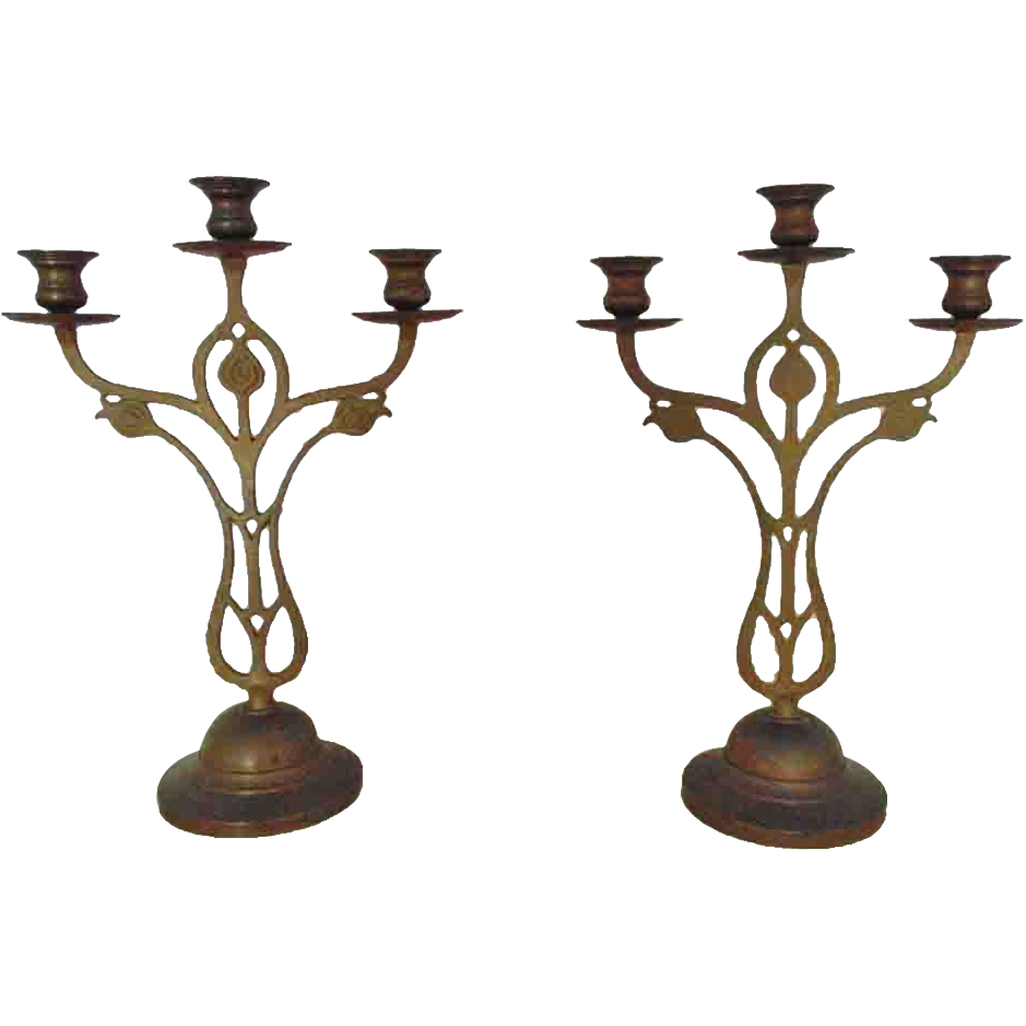 Pair brass candelabra candlesticks arts crafts stylized for Arts and crafts candle sconces