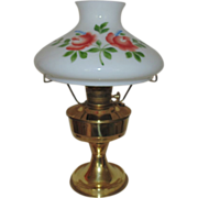 #23 Aladdin Brass Lamp Oil Kerosene w/ Hand-Painted Roses Glass Shade
