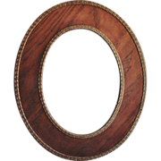 Antique Picture Frame 19c Victorian Oak Wood Oval w/ Greek Key Design for Painting Print Photograph