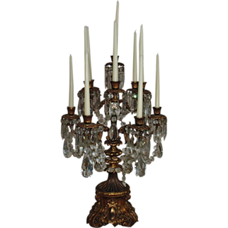 "Antique Bronze Candelabra Candelabrum Stunning LARGE 28"" Tall MUSEUM QUALITY 19c Ten Light Candle Holders w/ Prisms Lusters Lustres"