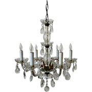 Italian Chandelier Crystal Glass 6 Light w/ Prisms Fixture Italy