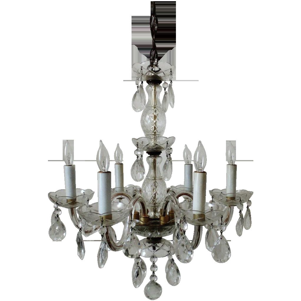 Italian Chandelier Crystal Glass 6 Light w Prisms Fixture