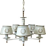 White Tole Chandelier Light Fixture Toleware Tole Ware Vintage 5 Light