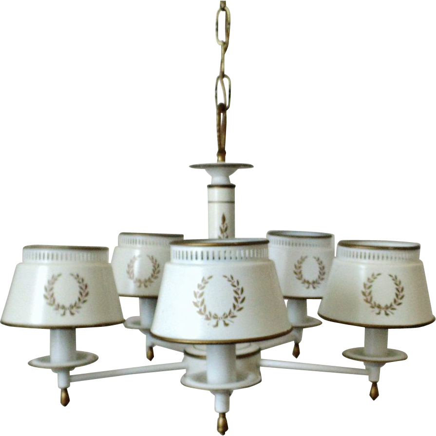 White Tole Chandelier Light Fixture Toleware Tole Ware Vintage 5 Light - White Tole Chandelier Light Fixture Toleware Tole Ware Vintage 5