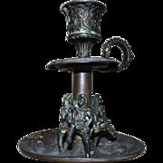 Antique 19c Brass Candlestick Figural Candle Holder