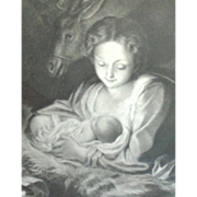 Antique Religious Print Nativity Virgin Mary Jesus Joseph Madonna 19c Victorian In Oak Wood Frame B & W