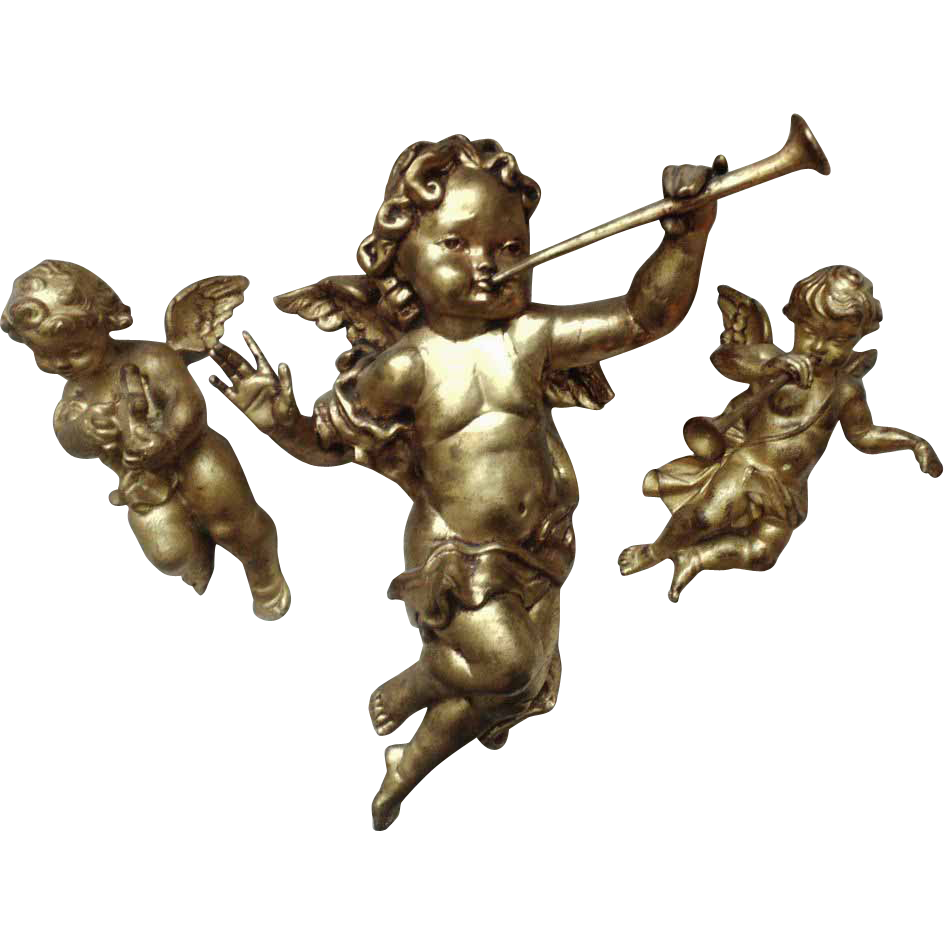 3 Cherub Wall Or Ceiling Hangings Ornaments Putti Angels