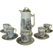 Antique 19c Victorian Tea / Chocolate Set French Limoges T & V Hand-Painted Violets Porcelain Pot w/ 5 Cups & Saucers Flowers Floral Artist Signed & Dated 1905 France