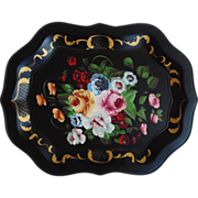 LARGE Vintage Roses Tole Tray Hand-Painted Toleware Tole Ware Floral Flowers