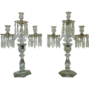 Antique Heisey Candelabra Glass Candle Holders w/ Prisms Lustres Lusters Pair