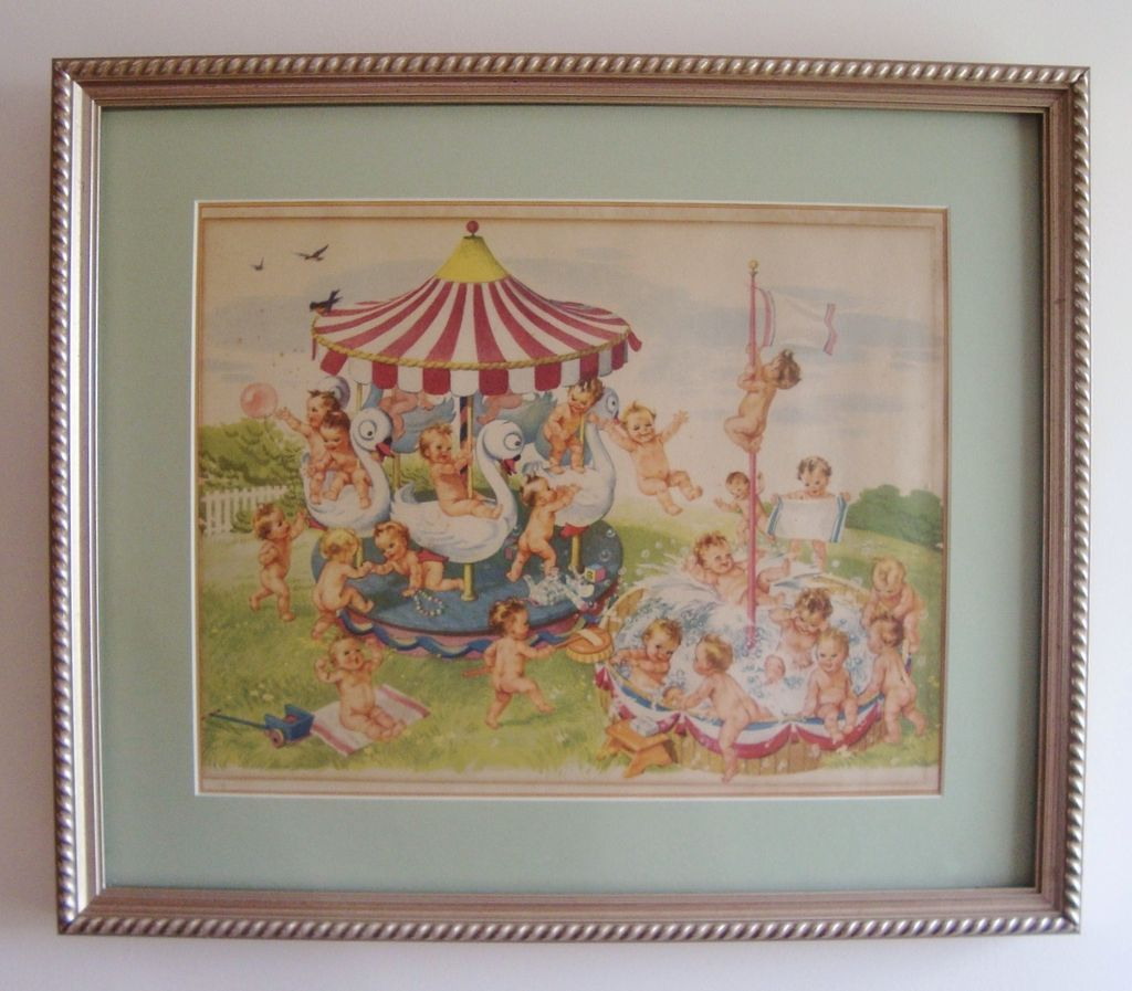 Advertising Print Swan Soap Swanny Babies Framed Matted