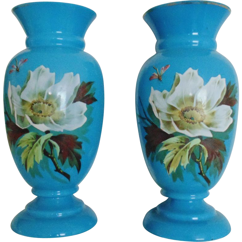 Pair Antique Vases Blue Opaline Glass French Victorian For