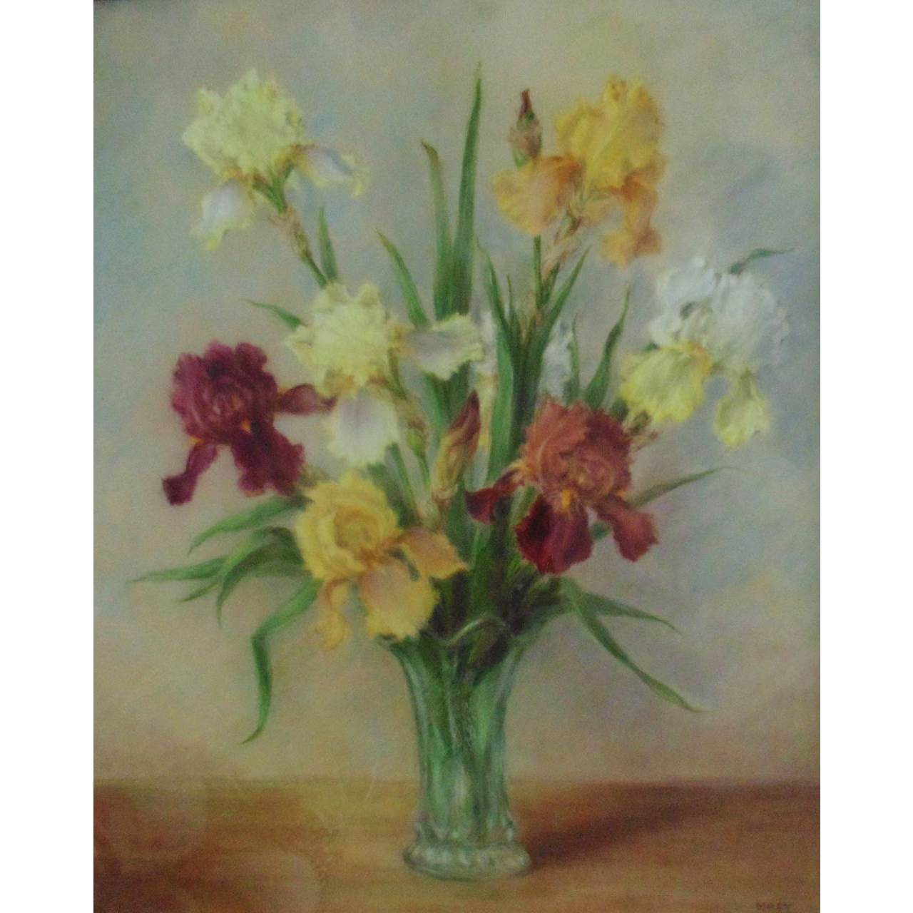 Pastel Iris Irises Painting Flowers Floral Mid Century Modern Signed