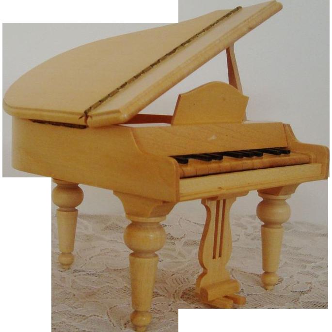 Miniature Wood Dollhouse Furniture Grand Piano Doll House Vintage