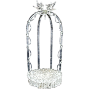 Antique Wedding Cake Topper / Ornament Holder Italian Glass w/ Love Birds Gazebo Italy