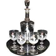 Rare Antique 19c Victorian Mary Gregory Liqueur Cordial Decanter & 4 Glasses Set