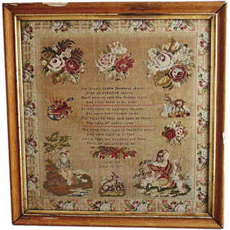 LARGE c. 1871 Victorian Sampler Religious Roses Antique MUSEUM QUALITY Needlework Sarah Till Aged 13 Prayer Animals Children