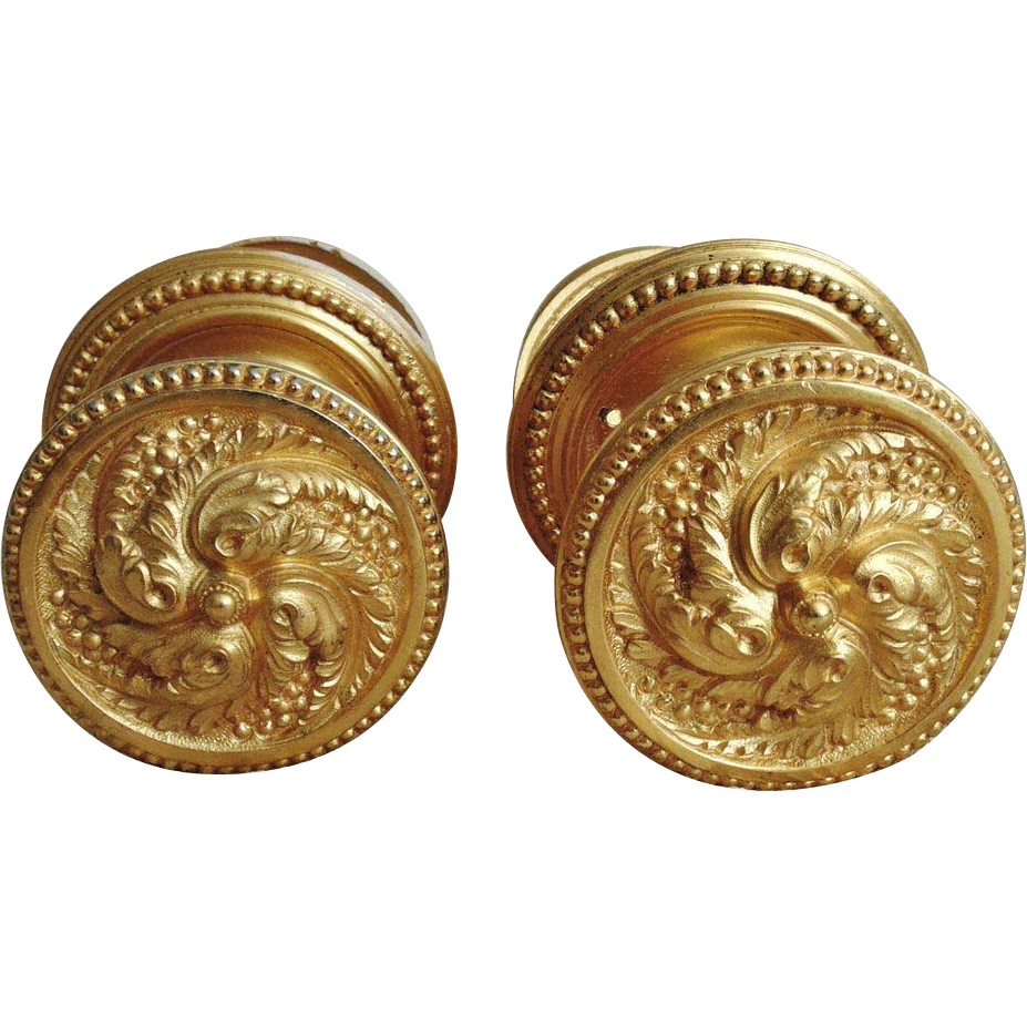 Pair of ornate vintage french dore bronze louis xvi style for French door knobs