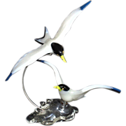 Pino Signoretto Sculpture Art Glass Italian Murano Venetian Pair of Flying Birds Terns Seagulls Italy Rare