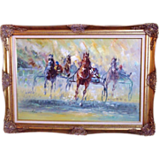 Modern Horse Oil Painting Harness Racing Race Mid Century on Canvas Signed